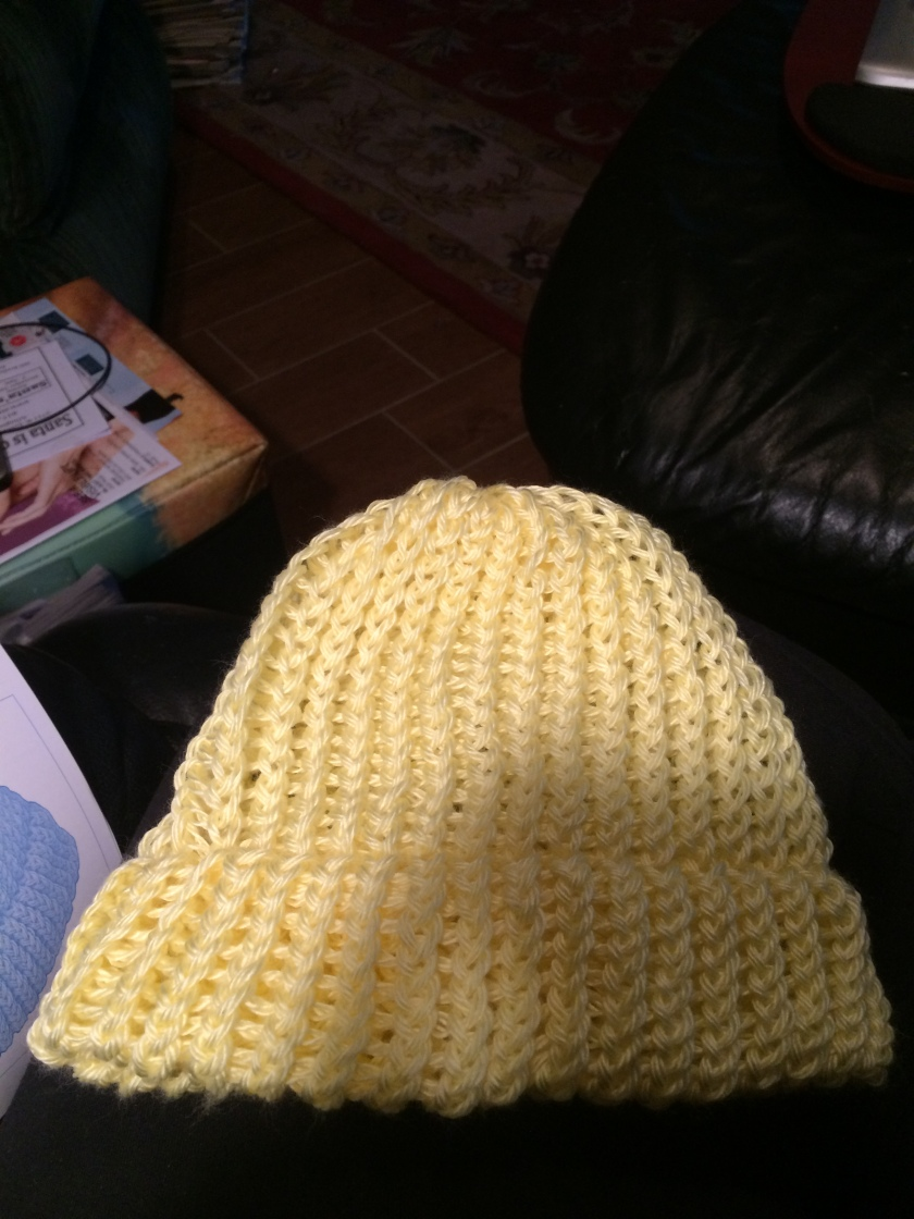 First knit-loom hat