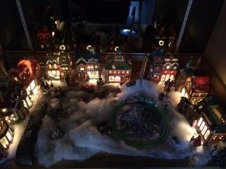 Christmas Village lit up at night