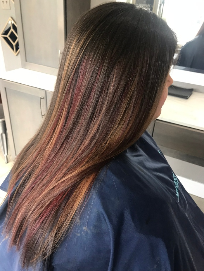 caramel and cherry hair from right