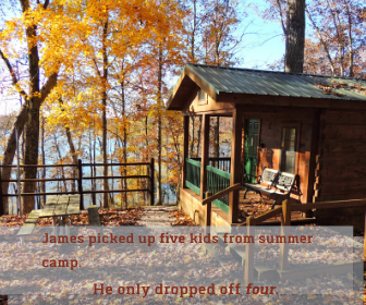 James picked up five kids from summer camp. He only dropped off four.