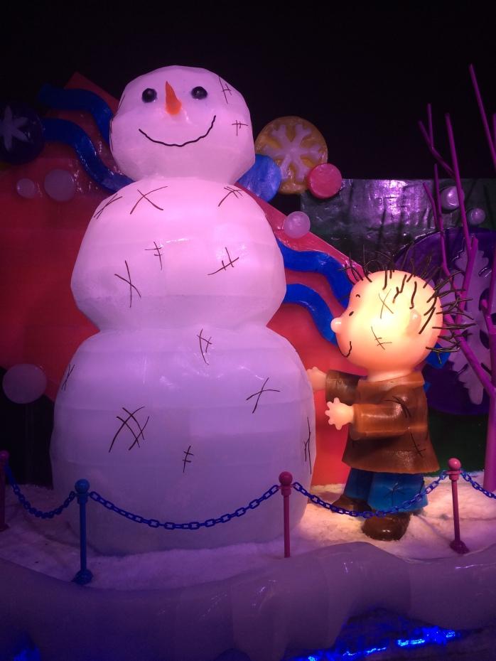 Pigpen building his Snowman