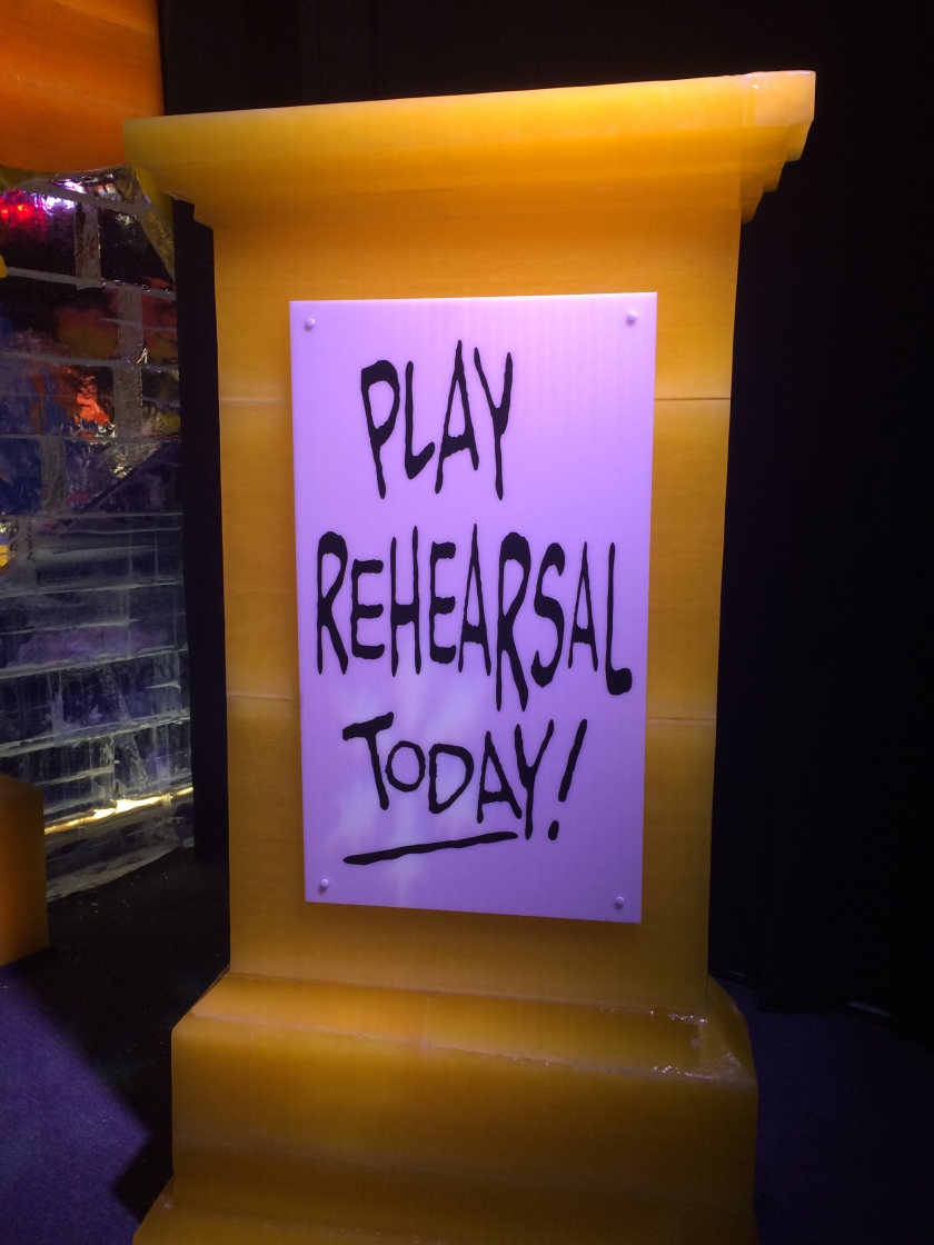 Sign for play rehearsal