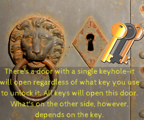 There's a door with a single keyhole-it will open regardless of what key you use to unlock it. All keys will open this door. What's on the other side, however, depends on the key.