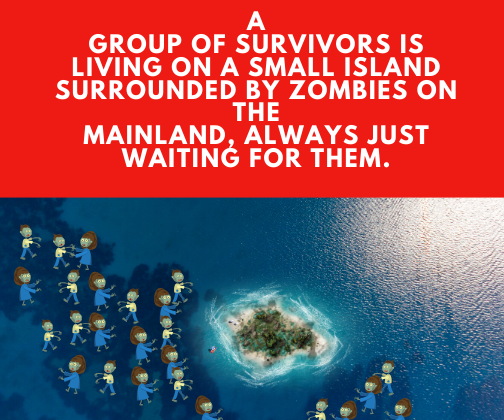 A group of survivors is living on a small island surrounded by zombies on the mainland, always just waiting for them.